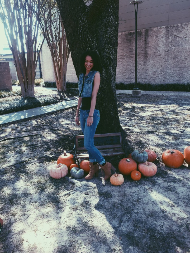 Pumpkin Patching in the Heat- Wearing Denim